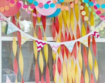 birthday party decoration ... paper circle garland  // wedding decorations // bridal baby shower sprinkle // rainbow