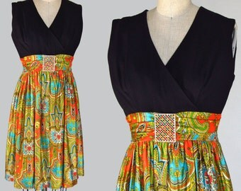 vintage 60s dress mini cocktail party evening paisley black small