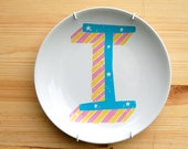 Alphabet Initial Plate in Candy Stripe