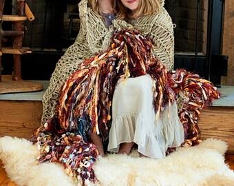 Throw Blanket Fringe Decor. Multicolor Cozy Afghan for Sisters, Siblings, Friends, Sisterhood