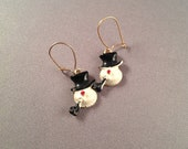Vintage Black and white Snowman Earrings - gold earwires - christmas earrings - stocking stuffer - pipe top hat and red nose