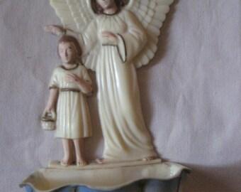 Vintage Angel and Boy Holy Water Dispenser Font
