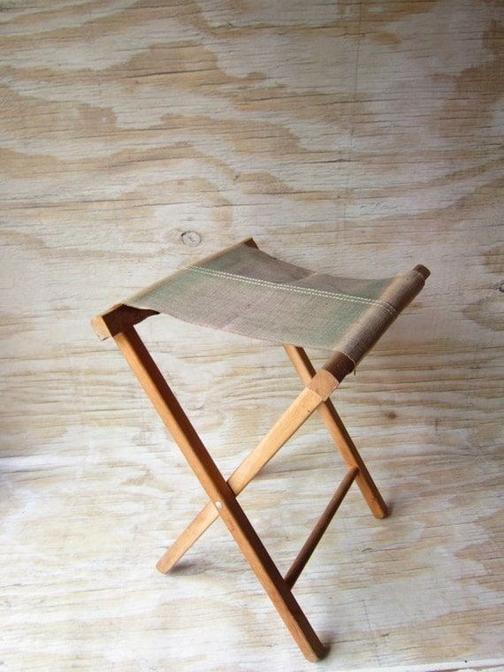 Vintage Camp Stool with Rustic Canvas Seat