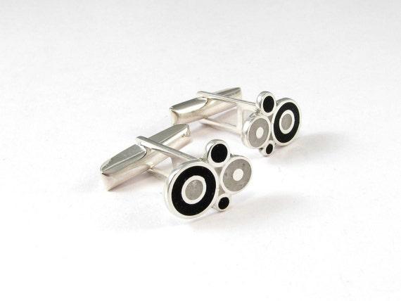 Sterling Silver Cuff Links, Black, White, Bubbles, Modern, Contemporary