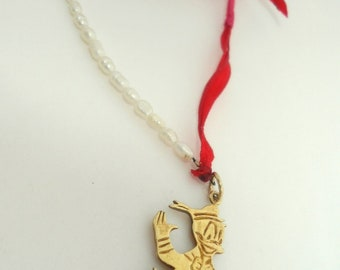 set  Donald Duck- bracelet /necklace- gold plated sterling silver - woman gift- famous duck- summer fashion-delicate jewelry