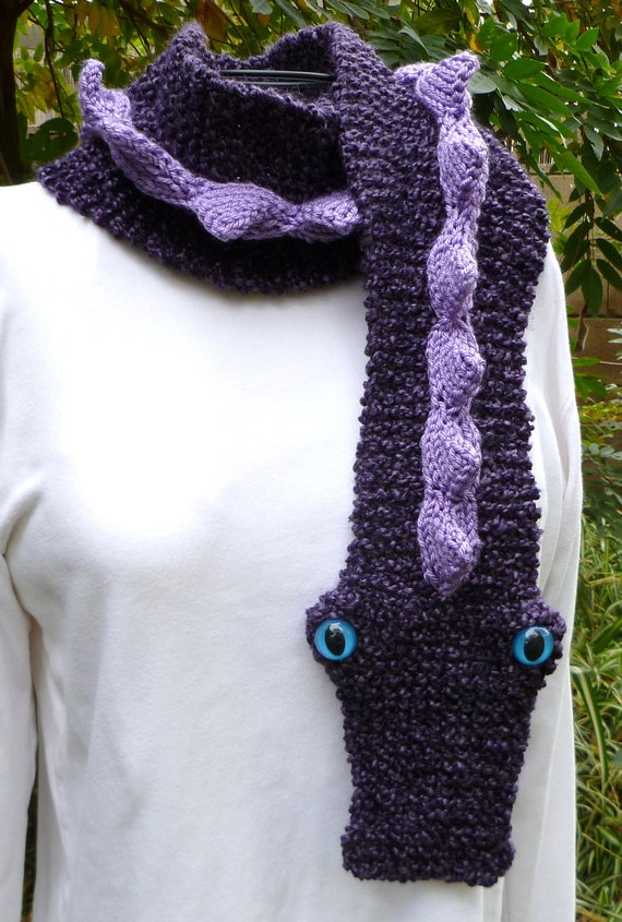 Knitting Pattern For Dragon Scarf : Knit Dragon Scarf Dark Purple with Lavender Spikes