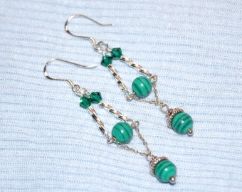 "Malachite Green Swirl with Sterling Silver Twists and Chains and Swarovski Crystal Dangle Earrings--""Green with Envy"""