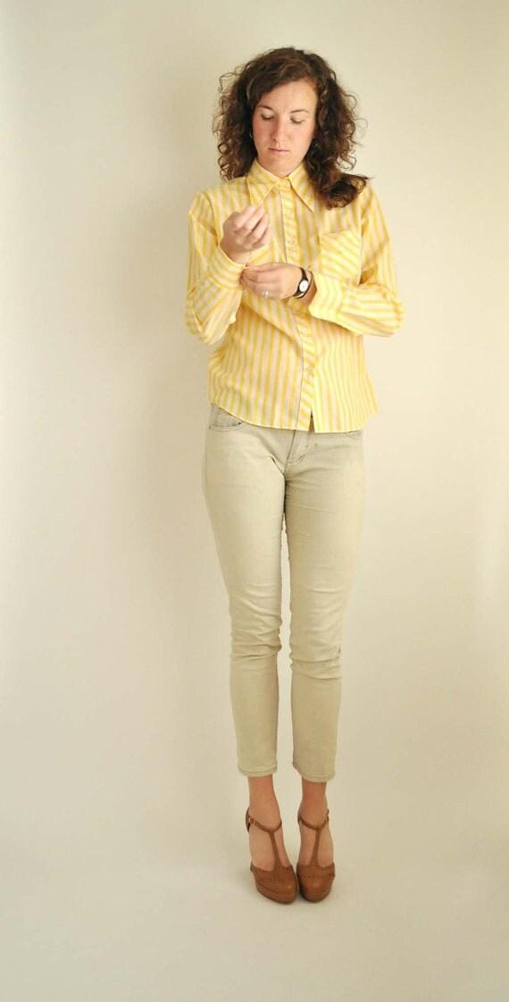 Yellow Stripey 70s Blouse