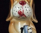 """Vintage Pottery Music Box Liquor Decanter Hunting Bassett Hound Dog """"How Dry I Am"""" Made in Japan"""