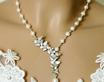 Plumeria Necklace,  Pearl Necklace, White Gold Orchids Cascade Wedding, Bridal Jewelry Bridesmaids Gift