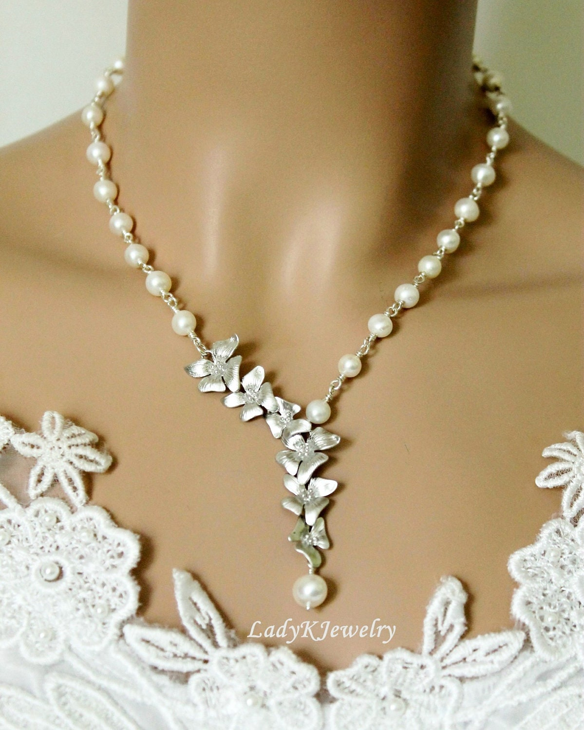 Plumeria Necklace Pearl Necklace White Gold Orchids Cascade