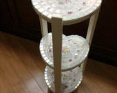 RESERVED Shabby Chic Vintage China Mosaic Heart Table