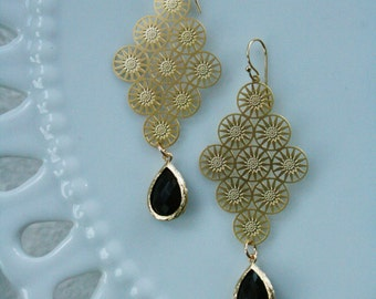 Odessa Gold Plated Chandelier earring with Black Onyx Stone