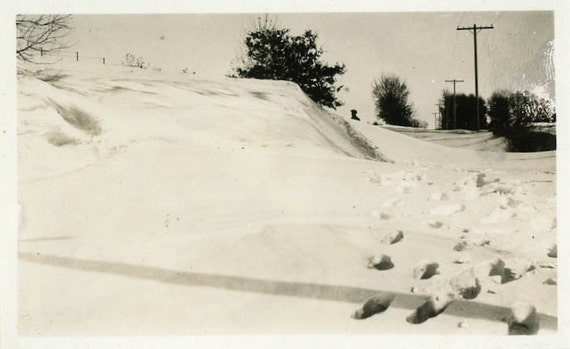 """1924 Vintage Photo """"Footprints in the Snow"""", Photography, Paper Ephemera, Snapshot, Old Photo, Collectibles - 0019"""