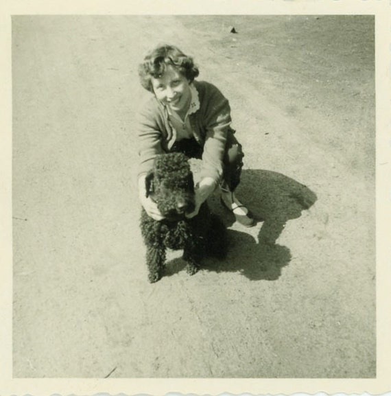 """Vintage Photo """"Woman and Pup"""", Photography, Paper Ephemera, Snapshot, Old Photo, Collectibles - 0082"""