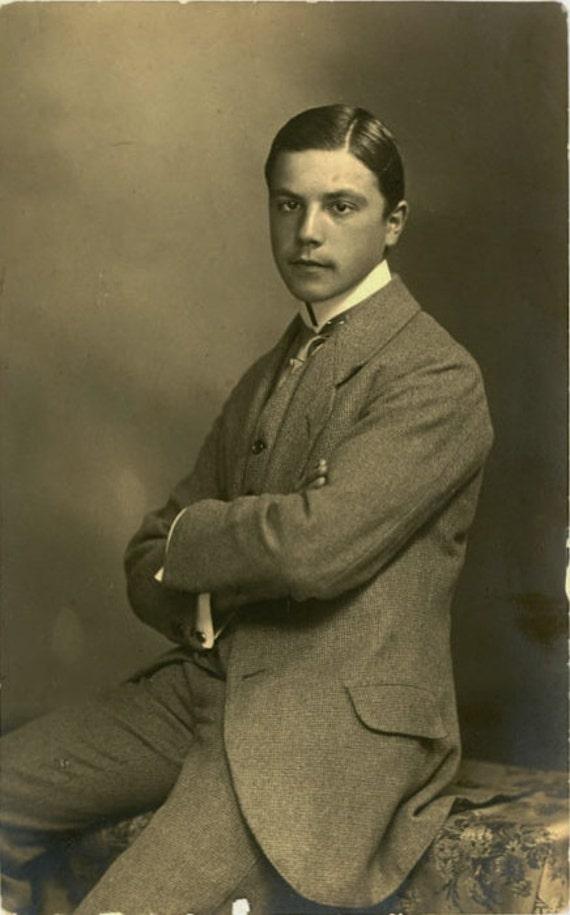 "1918 Vintage Photo Postcard ""Young Man"", Photography, Paper Ephemera, Snapshot, Old Photo, Collectibles - 0082"