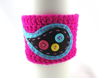 Crochet Coffee Cup Sleeve - Neon Pink with Bright Blue and Black Paisley