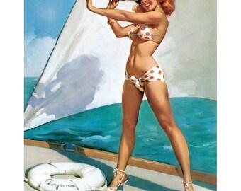 Elvgren Pinup Girl Greeting Card - Redhead Bikini Sailboat - Repro Gil Elvgren