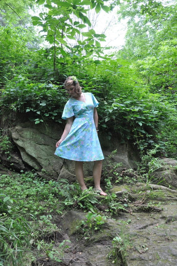 """SALE Handmade Vintage inspired dress """"Roll Away the Dew"""" recycled sheets one-of-a-kind  FREE SHIPPING"""