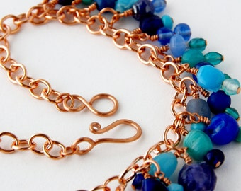Blue Glass with Copper Belly Dancing Necklace, Tribal Fusion Copper Necklace, Where the Sky, the Ocean and the Sand meet