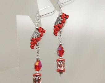 Red Dragon Dangle Earrings