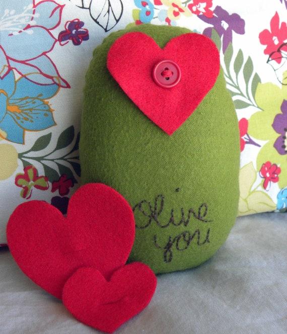 Olive You--Plush Olive with Felt Hearts