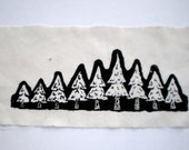 Tiny Silkscreen Nature Patch - Evergreen Tree Forest - Row of Christmas Trees