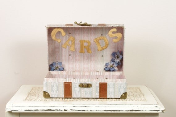 Small Paris Wedding Card Box - Wedding Card Trunk with Romantic Paris theme