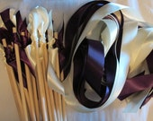 Tie the Knot - Satin Wedding Ribbon Wands - Custom Colors - Pack of 50 - Shown in Plum and Ivory