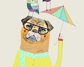 Pug with Umbrella and Owl Friends. Featured in Elle Decoration Magazine. Illustration.