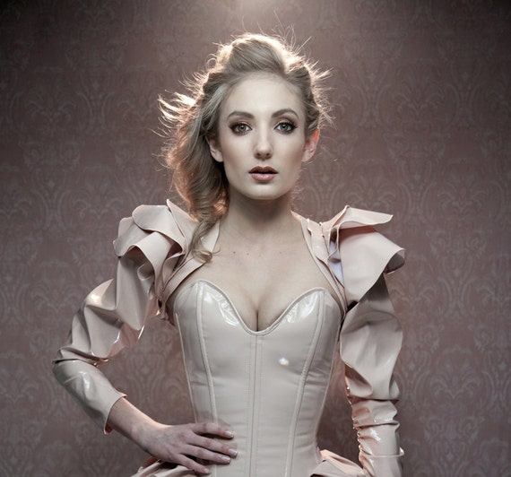 """HALF PRICE S 22"""" Nude PVC overbust corset by Artifice Clothing with steel boning (production sample)"""