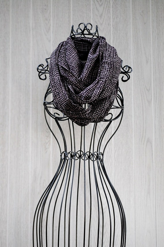 RESERVED for Shannon-  Black and Grey Smudged Houndstooth Print Long Silky INFINITY SCARF x2 by The Accessories Nook