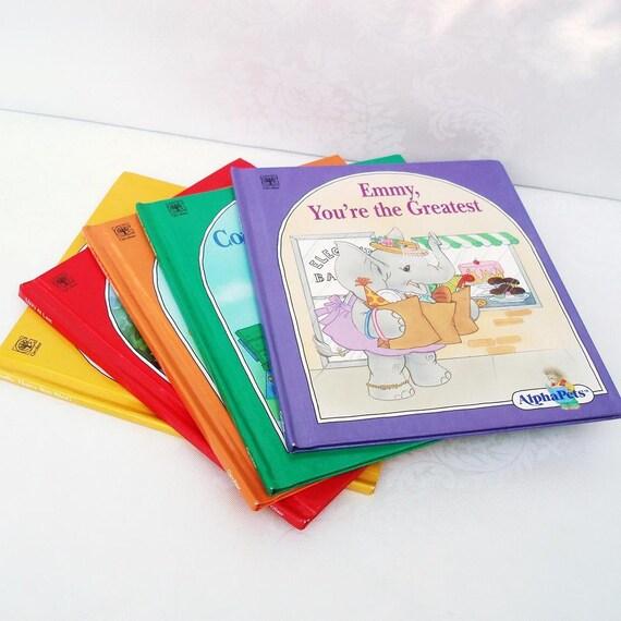 Vintage Kids Books Set of 5 Childrens Books Animal Stories Rainbow Set Nursery Decor Homeschool Reading Books Orange Red Purple