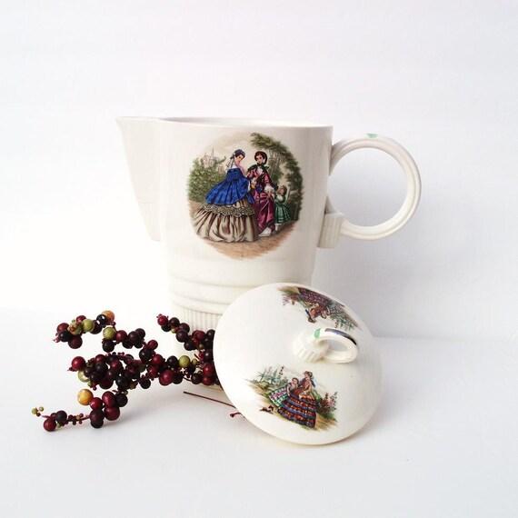 Vintage Ceramic Coffee Pot Large White Pitcher Godey Pattern Mid Century Teapot Transferware