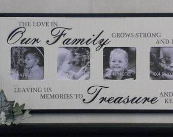Unique Family Gift - Photo Frame Brown or Black Sign - The love in Our Family grows strong and deep leaving us memories to Treasure and keep