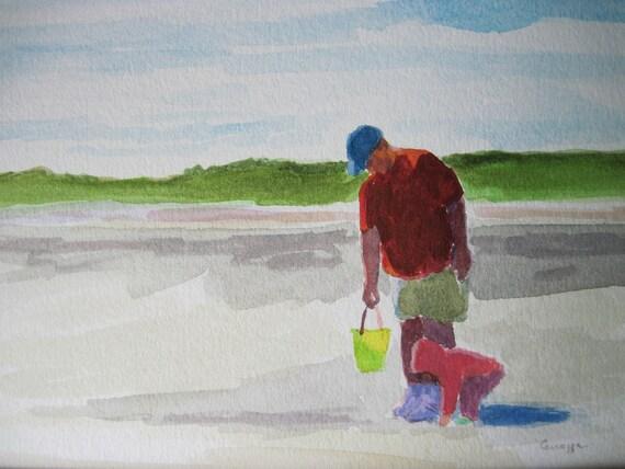 Father & Daughter- Original watercolor