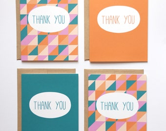 Thank You Cards - Set of 8 Note Cards - Geometric Note Cards - Teal, Orange, Pink