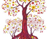 """Autumn ORIGINAL illustration Tree Abstract Painting 11""""x14"""" by Olena Baca"""