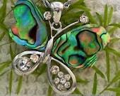 Butterfly w/ Abalone & Rhinestone Wings                 CC-11481