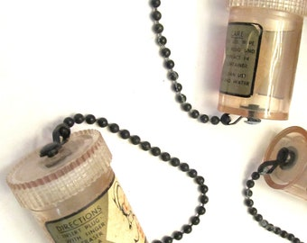 Vintage Clear Hard Plastic Apothecary Vial with Chain and Screw-On Lid: Perfect for Assemblage/Collage/Junk Jewelry Projects