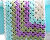 Baby Blanket, Granny Square Baby Blanket in Robins Egg and Purple