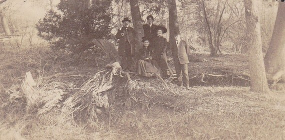 Outdoors Edwardian Family- Wandering in the Woods- 1900s Vintage Photograph