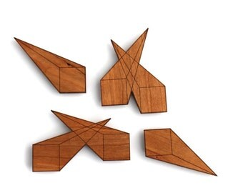 Visual Perspective Wooden Magnets - Laser Cut Cherry Wood Set of (4)