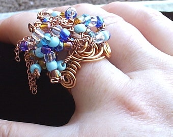 Big Bold Beautiful Beaded Copper Ring with Chains One Of  A Kind Size 8