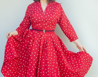 Vintage 1950's Dress - Swing Me - Amazing Bright Red Polka Dot Fifties Housewife Swing Dress