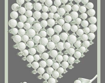 Personalised Wedding Heart - GOLF BALLS - Large Print - 90 signatures - Guestbook Alternative - Wedding Keepsake - Made in Ireland