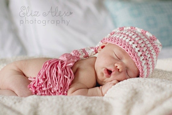 Photo Prop Elf Hat, Crochet Pink and White Striped with Tassel, Newborn Size (Item 774)