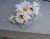 Bridesmaids Daisy hair comb hippie flower -set of 10- bridal party spring wedding accessories silk artificial Floral custom order for Becky