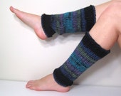 Leg Warmers Black Blue Knit