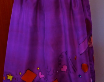 "Handpainted Silk Skirt ""Katie-Louise Ford for The Silk Maid Size 10 Original Wearable Art"